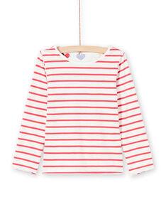 T-shirt double face ecrù e rosso bambina MAMIXTEE2 / 21W901J4TML001