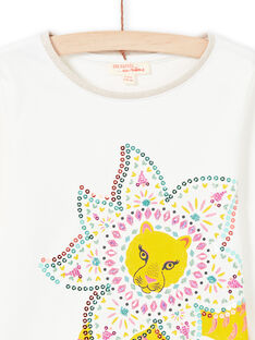 T-shirt ecrù e giallo bambina MATUTEE3 / 21W901K1TML001
