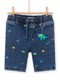 Bermuda in jeans blu stampa dinosauri bambino LOVERBER2 / 21S902Q1BERP274