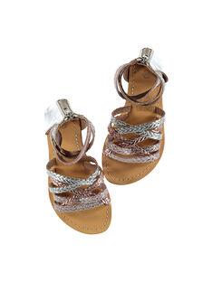 Sandali da città in pelle metallizzata e intrecciata bambina FFSANDROX / 19SK35C2D0E956