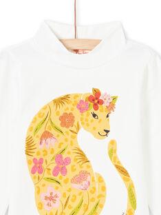 Dolcevita ecrù con motivi leopardati e fiori bambina MASAUSOUP / 21W901P1SPL001