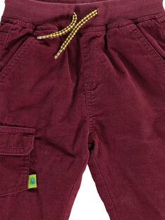 Baby boys' burgundy velour trousers DUJOPAN8 / 18WG10J2PAN503