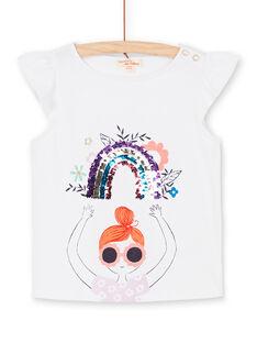 T-shirt a maniche corte, stampa bambina e arcobaleno in paillettes magiche LAVITI3 / 21S901U1TMC000