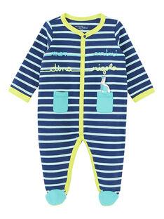 Tutina neonato felpata blu e turchese JEGAGREDIN / 20SH14U3GREC230