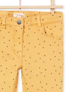 Pantaloni in sergé senape con stampa stelle bambina MAJOPANT1 / 21W90123PANB106