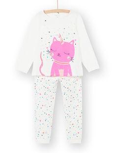 Pigiama bambina in jersey motivo gatto LEFAPYJCAT / 21SH1151PYJ001