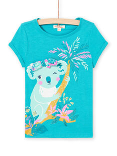 T-shirt turchese motivo koala bambina LAVERTI3 / 21S901Q2TMCC217