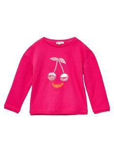 Felpa rosa imbottita con ciliegia in Cornely e patch plastificato JAVISWEA / 20S901D1SWEF507