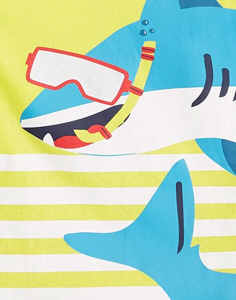 Completo da spiaggia bambino canottiera gialla e bermuda navy JOPLAENS4 / 20S902X1ENS102