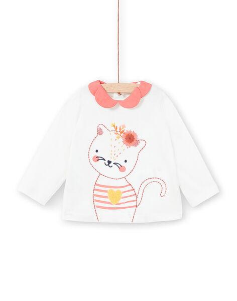 T-shirt bianca a maniche lunghe con collo a contrasto LINAUBRA / 21SG09L1BRA001