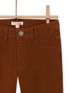 Pantaloni in velluto a costine a tinta unita marroni bambino MOJOPAVEL9 / 21W902N5PAN812