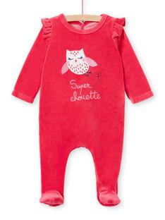 Tutina corredo bambina in velluto rosa motivo civetta LEFIGRETYP / 21SH135AGRED332
