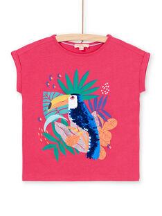 T-shirt rosa e blu con motivo tucano con paillettes LANAUTI1 / 21S901P2TMCF507