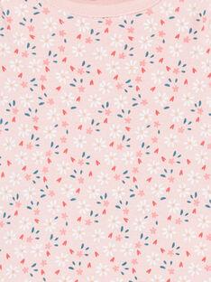 Body corredo bambina maniche lunghe rosa stampa a fiori LEFIBODPLU / 21SH132BBDLD329