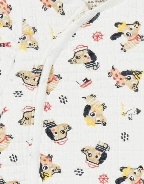 Tutina ecrù con stampa cani e fantasia in doppio jersey imbottito e trapuntato LEFUGREAOP / 21SH1412GRE001