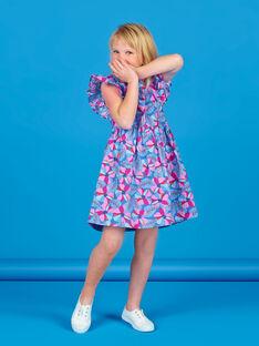 Abito blu lavanda e rosa con stampa a fiori e righe Lurex® in cotone LABLEROB2 / 21S901J1ROBC208