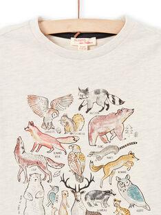 T-shirt maniche lunghe beige melange con motivi animali della foresta bambino MOSAUTEE3 / 21W902P2TMLA013