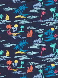 T-shirt navy e gialla con stampa palme bambino LOBONTI3 / 21S902W6TMC705