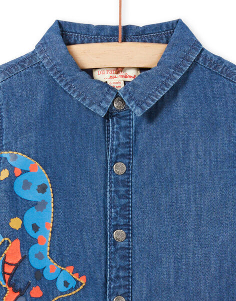 Camicia in jeans maniche lunghe motivo dinosauro neonato MUPACHEM / 21WG10H1CHMP274