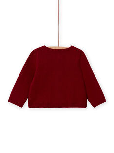 Cardigan rosso a maniche lunghe ricamato neonata MIFUNCAR / 21WG09M1CAR504