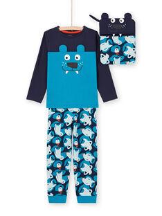 Set pigiama t-shirt e pantaloni blu e navy bambino MEGOPYJMAN2 / 21WH1271PYG705