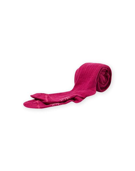 Collant tinta unita a costine rosa scuro bambina MYAJOCOL3 / 21WI0117COLD312