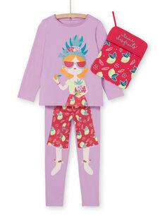 Completo pigiama t-shirt e leggings lilla bambina LEFAPYJFRU / 21SH11S4PYG326