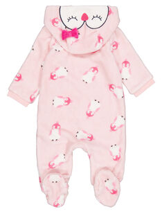 Tutina sacco nanna con cappuccio amovibile, rosa in soft boa neonata GEFISURPYJ / 19WH13N1SPYD310