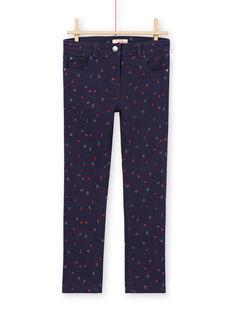 Pantaloni in sergé blu notte con stampa a fiori e cuori MAJOPANT3 / 21W90121PANC205
