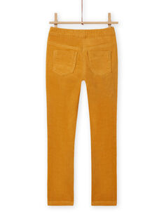 Pantaloni in velluto a costine gialli bambina MAJOVEJEG2 / 21W901N2PANB107