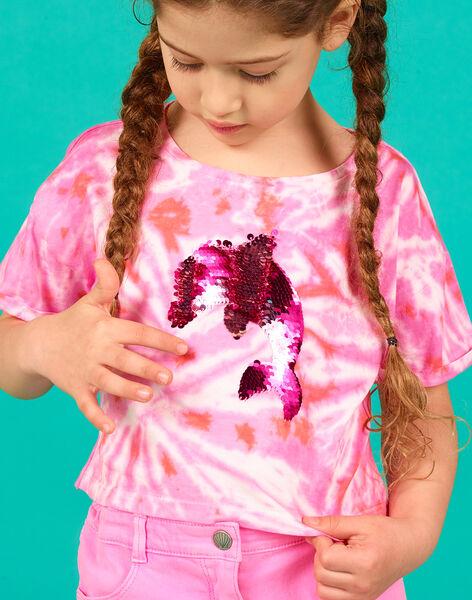 T-shirt corta rosa ed ecrù con paillettes double face LABONTI4 / 21S901W1TMC000