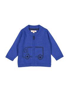 Cardigan con cerniera blu neonato FUJOGIL3 / 19SG1033GIL703