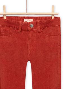 Pantaloni in velluto a costine rossi-arancio bambino MOJOPAVEL7 / 21W902N3PANE408