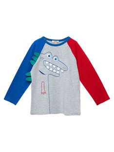 T-shirt maniche lunghe bambino colorblock raglan con dinosauro ricamato JOGRATEE2 / 20S902E1TMLJ920