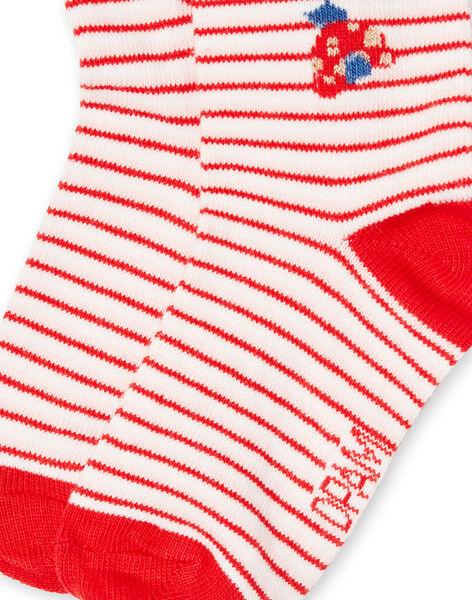 Calze ecrù e rosse neonata LYICANSOQ / 21SI09M1SOQ001