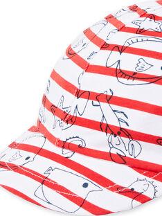Cappellino ecrù e rosso neonato LYUVICASQ / 21SI10U1CHA001
