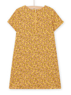 Abito giallo con stampa a fiori e motivo borsa bambina MASAUROB4 / 21W901P4ROBB107