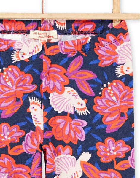Leggings navy stampa uccelli e fiori colorati bambina MYAPALEG / 21WI01H1CALC205