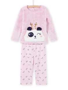 Set pigiama rosa motivo panda in soft boa bambina MEFAPYJKAN / 21WH1191PYJ326