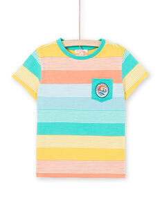 T-shirt gialla e verde a righe bambino LOBONTI4 / 21S902W4TMC600