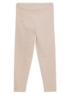 Leggings bambina rosa chiaro a righe lurex dorati JYAPOELEG1 / 20SI01G2CAL301