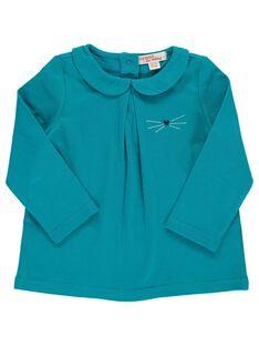 Baby girls' turquoise T-shirt with a Peter Pan collar DIJOBRA5 / 18WG0935BRAC217