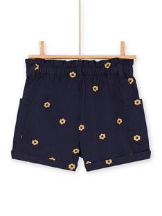 Shorts navy stampa a fiori bambina LAHASHORT / 21S901X1SHO070