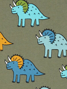T-shirt kaki e blu stampa dinosauri bambino LOVERTI4 / 21S902Q2TMCG631