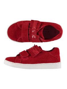 Sneakers da città in crosta di pelle bambina FFBASRED / 19SK3535D3F050
