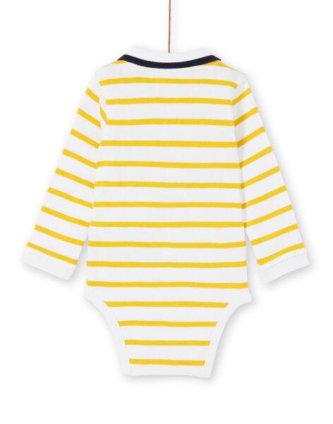 Body bianco e giallo a righe in cotone neonato LUNOBOD / 21SG10L1BOD000