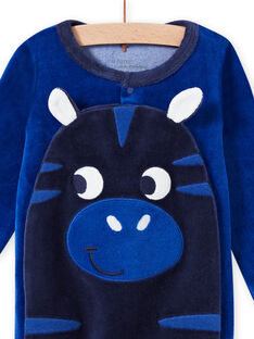Tutina blu motivo zebra in velluto neonato MEGAGREZEB / 21WH1491GRE217