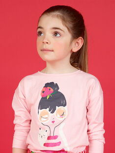 T-shirt maniche lunghe stampa bambina e gatto LAROUTEE1 / 21S901K1TMLD326