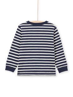 T-shirt maniche lunghe a righe ecrù e navy bambino MOJOTIRIB1 / 21W90226TML001