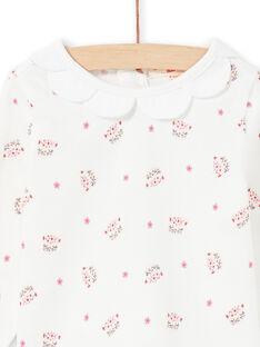 T-shirt a maniche lunghe ecrù e stampa testine di leopardo e fiori neonata MIPABRA / 21WG09H2BRA001